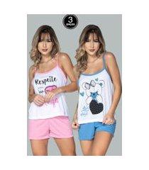 kit 3 pijamas bella fiore modas short doll estampado juliana multicolorido