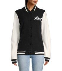 karl lagerfeld paris women's wool-blend varsity jacket - black ivory - size s
