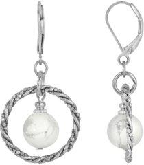 2028 silver-tone genuine stone howlite round stone hoop earrings