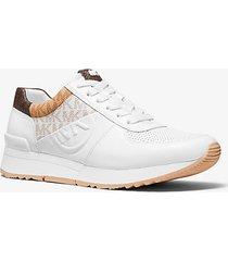 mk sneaker allie in pelle con logo color block - bianco ottico cangiante (bianco) - michael kors