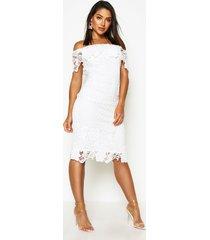 boutique midi jurk met kant en open schouders, ivoor