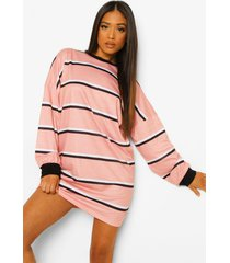 petite oversized gestreepte t-shirtjurk, light pink