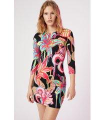 slim dress 3/4 sleeve - black - s