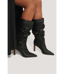na-kd shoes boots med vida skaft med struktur - black