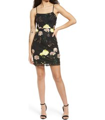 lulus embroidered sequin dress, size x-small in black floral at nordstrom
