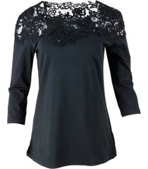 ermanno scervino 3/4 sleeve t-shirt with appliqués and lace inserts