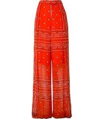 dion lee wide leg bandeau scarf trousers - orange