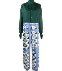 jejia high-collar wide-leg jumpsuit - green