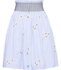 miu miu floral embroidered poplin skirt - white