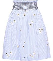 miu miu floral embroidered poplin skirt - white