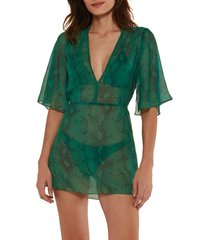 women's vix swimwear malia green snake short cover-up caftan, size x-small - green