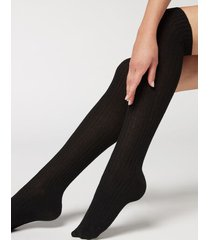 calzedonia women's ribbed long socks with wool and cashmere woman black size tu