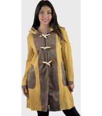 abrigo mujer de gamuza bicolor mostaza enigmática boutique