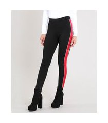 calça legging feminina com faixa lateral preta