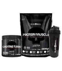 kit black skull com creatine turbo 150 g + protein muscle morango 900 g + coqueteleira