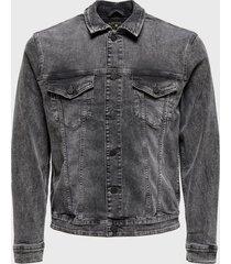 chaqueta only & sons gris - calce ajustado