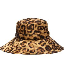'kaya' leopard print wide brim water repellent bucket hat