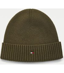 tommy hilfiger cotton beanie olivewood -