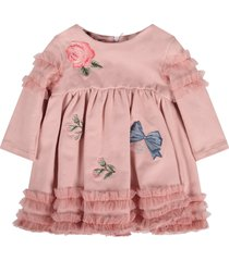 blumarine pink dress for baby girl colorful flowers and bows