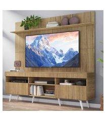 """rack com painel tv 65"""" madri multimóveis rustic com prateleira e pés retrô branco"""