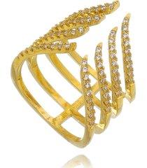 anel drusi semi joias regulável zircônias cristal dourado