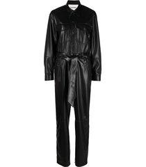 nanushka ashton vegan leather straight jumpsuit - black