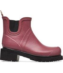 short rub high heel shoes boots ankle boots ankle boot - flat röd ilse jacobsen