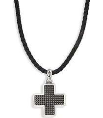 leather & sterling silver cross pendant necklace