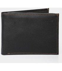 billetera de cuero para hombre costuras contraste