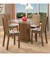 conjunto sala de jantar madesa maya mesa tampo de vidro com 4 cadeiras marrom - marrom - dafiti