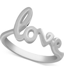 essentials love script ring in fine silver-plate