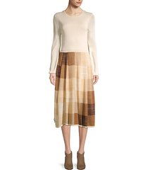 wine country cork geometric-print midi dress