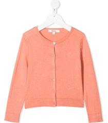 bonpoint embroidered cherry crew neck cardigan - orange