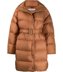acne studios belted padded coat - brown