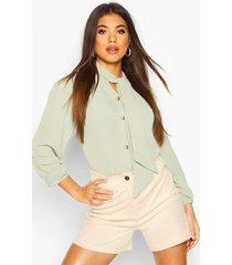 pussybow button through volume sleeve blouse, sage