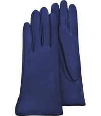 forzieri designer women's gloves, women's bright blue calf leather gloves w/ silk lining