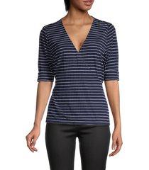 tommy hilfiger women's striped rib-knit top - navy ivory - size s