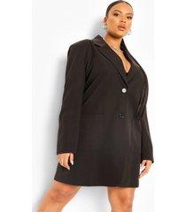 plus oversized blazer jurk, black