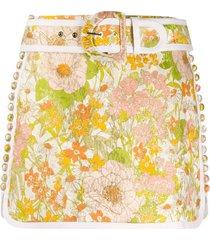 zimmermann fitted d-buckle floral skirt - neutrals