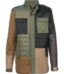 mostly heard rarely seen colour block multi-pattern coat - green
