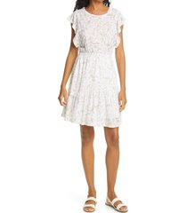 women's rebecca taylor zadie floral linen jersey dress, size x-small - white