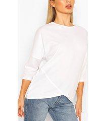 asymmetric hem t-shirt with zip, white