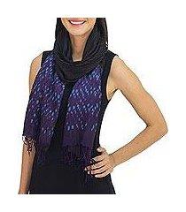 tie-dyed scarf, 'black purple kaleidoscopic' (thailand)