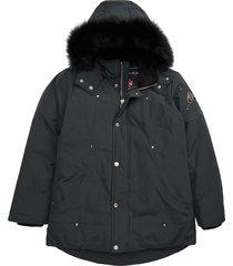 kid's moose knuckles hooded parka with genuine fox fur trim, size xl (18) - grey