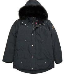kid's moose knuckles hooded parka with genuine fox fur trim, size xl - grey