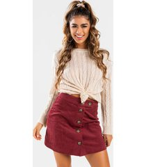 electra button front mini skirt - burgundy