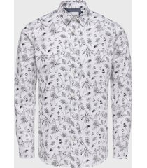 camisa only & sons hogan stretch blanco - calce stretch
