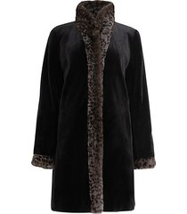 reversible leopard-print mink fur-trim coat