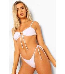 essentials bikini broekje met strikjes en v-inkeping, wit