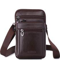 business casual in vera pelle multi-funzionale 7 pollici sacchetto del telefono marsupio borsa a tracolla per gli uomini